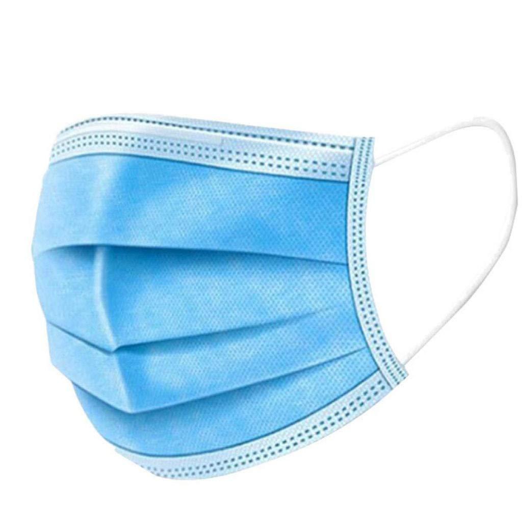 50 Piezas Adulto Protección personal 𝐌𝐚𝐬𝐜𝐚𝐫𝐢𝐥𝐥𝐚𝐬, Color sólido, Protección 3 Capas Transpirables A Prueba de Polvo con Elástico para Los Oídos