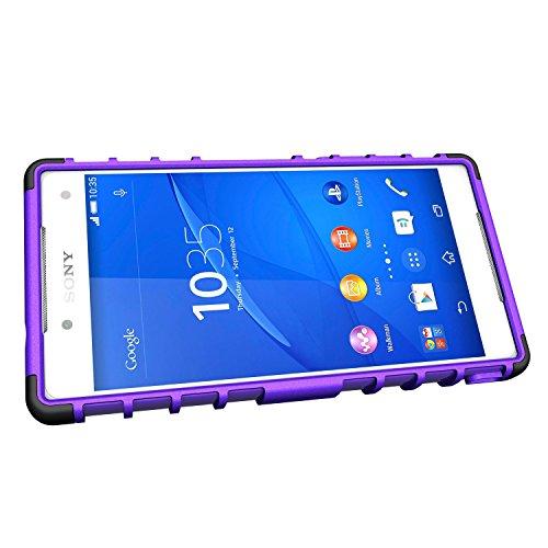 [SCIMIN] Sony Xperia Z5caja compacta, Xperia Z5Mini cubierta, protección de doble capa/a prueba de golpes/Drop resistencia Hybrid Rugged Case Cover con función atril para 4,6¡¯ ¡¯ Sony Xperia Z5Co morado