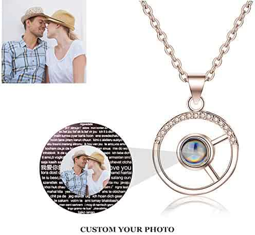 set adil Custom Photo Projective Necklace I Love You Symbol of Steadfast The Memory of Love Different Languages for I Love U -
