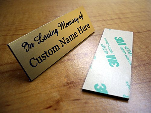 (Custom Engraved 1x3 In Memory Of Plate | Brushed Gold Name Tag | Badge With Adhesive | Urn Keepsake Loving Sign Personalized)