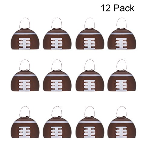 Metal Cowbells with Handles 3 inch Novelty Noise Maker - 12 Pack (Football) -