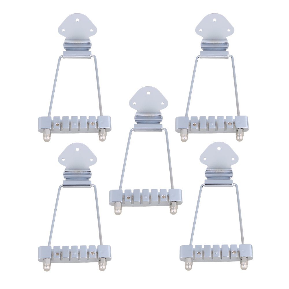 Yibuy Chrome 6-String Tailpiece No Flower Pull Plate for Electric Guitar Set of 5