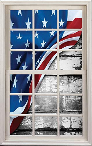 - 3D Window Decal Wall Sticker,Design Flag Over Antique Rustic Rippled Board Federal,Home Decor Stickers