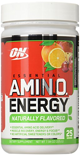 Optimum Nutrition Naturally Flavored Amino Energy, Simply Fruit Punch, Preworkout and Essential Amino Acids with Green Tea and Green Coffee Extract, 25 Servings