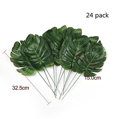 Delidge 24 pcs/pack Tropical Leaves Palm Simulation Imitation Leaf-- Luau / Hawaiian/Jungle/ Beach Party Decorations Supplies Summer Flowers,No Vase(12.8