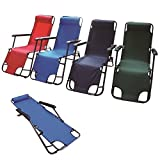 Eurotrade W 2001690 Adjustable Folding Chair Recliner Deck Camping Sun Bed Lounger Garden Pool Patio Seat Furniture, Multi-Colour, 90 x 60 x 25 cm