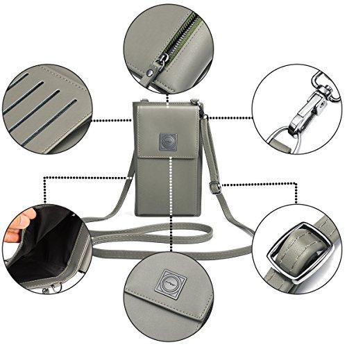 Purse Mini Stylish Clutch Phone Wallet Bag Coin Leather Women Travel Shoulder Ourbag Grey Cute Small Rq0gx