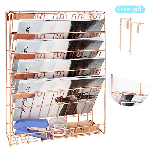 Veesun Wall File Holder Organizer,Hanging Metal Mesh Wall Magazine Rack,Hanging Wall Document Paper Organizer for Cubicle Partition Office Home,Rose Gold.