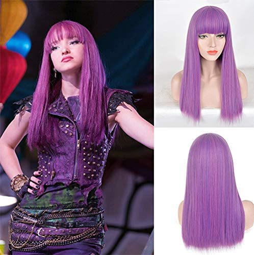 Blue Bird Movie The Descendants Mal Cosplay Wigs Long Silk Straight Purple Mixed Blue Hair With Bangs Synthetic Anime Wig for Women Halloween Party Show]()