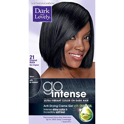Softsheen-Carson Dark and Lovely Ultra Vibrant Permanent Hair Color Go Intense Hair Dye for Dark Hair with Olive Oil for Shine and Softness, Original Black