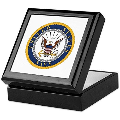 CafePress - US Navy Emblem - Keepsake Box, Finished Hardwood Jewelry Box, Velvet Lined Memento Box