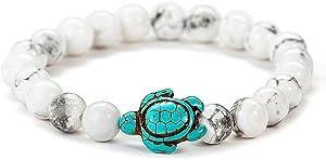 Ocean Sea Turtle Bracelets Save Beach Jewelry for Women Men 8MM Natural Stone Elastic Friendship Beads Bracelet (Howlite)