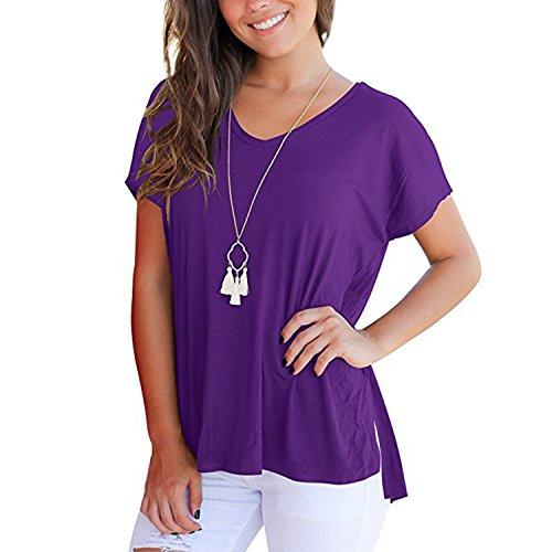 Uni T Shirt Femme V Casual Shirt Confort Manche Loisir Court Basique Loose Et Blouse Mode Sweat Sport semen Shirt Violet Top Col 4w5Sq77