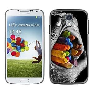 Be Good Phone Accessory // Dura Cáscara cubierta Protectora Caso Carcasa Funda de Protección para Samsung Galaxy S4 I9500 // Colorful Pencils Contrast