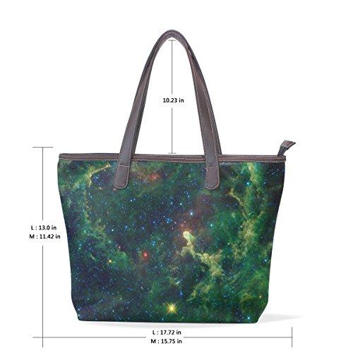 33x45x13 Pu L Galaxy COOSUN cm muticolour tracolla grande Verde Bag a Donna Pelle Borsa impugnatura Tote qnnORWf