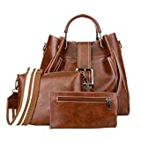 JESFFER 3Pcs Retro Women's Pure Color Leather Shoulder Bags Handbag+Crossbody Bag+Wallet