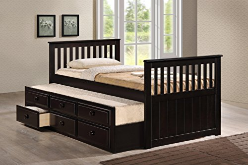 Milton Greens Stars Riley Captain's Bed with 3-Drawer Storage, Twin, White
