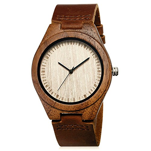 CUCOL Walnut Cowhide Leather Wristwatch product image