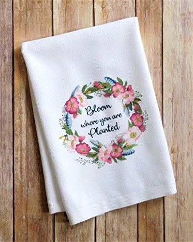 Bathroom Hand Towel - Bloom Where You Are Planted - Kitchen Dish Towel by Sticks, Hooks, and Yarn