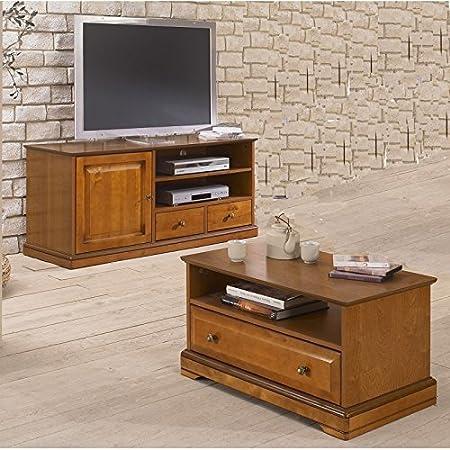 Beaux Meubles Pas Chers Meuble Tv Et Table Basse Plaques Merisier Amazon Fr Cuisine Maison