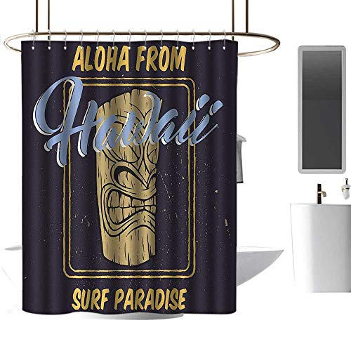 homehot Shower Curtains Cherry Blossom Tiki Bar,Aloha from Hawaii Surf Paradise Retro Style Tiki Statue Vintage,Indigo Apricot Pale Blue,W72 x L96,Shower Curtain for clawfoot tub