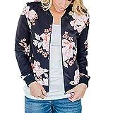 SGMOER Pullover Hoodie Women Full-Zip Jacket Floral Printed Long Sleeve Tops (XL, Black1)