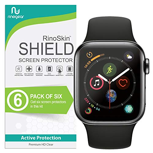 ((6-Pack) Apple Watch 44mm Screen Protector (Series 4) RinoGear Case Friendly iWatch Screen Protector for Apple Watch Series 4 44mm Accessory Full Coverage Clear Film)
