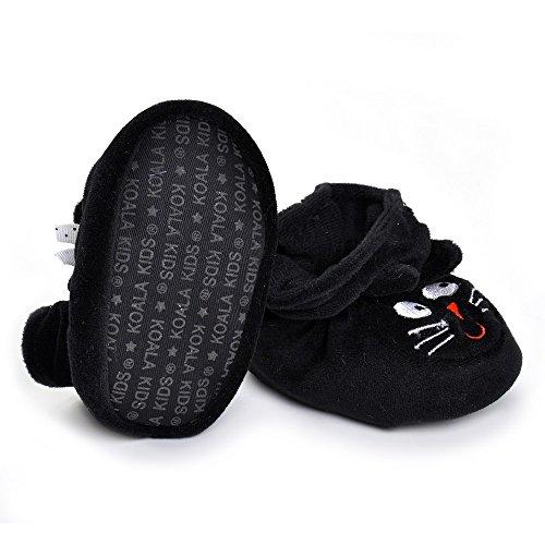 Estamico Infant Niños Niñas Cálido Cartoon zapatos de bebé negro negro negro Talla:3-6 meses