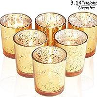6-Pack lEPECQ Speckled Gold Votive Tealight Candle Holders