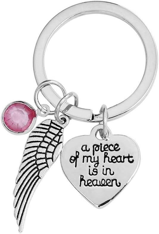 GloryMM Love Angel Wings Keychain A Piece of My Heart is in Heaven Letters Crystal Keychain,D11 Pink