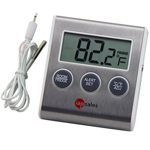 (Easy to Read: Refrigerator Freezer Thermometer Alarm, High & Low Temperature Alarms Settings )