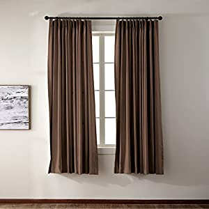 Pinch Pleat Solid Thermal Insulated Blackout Patio Door Curtain Panel Drape  For Traverse Rod And Track, Chocolate 84Wx84L Inch (1 Panel)