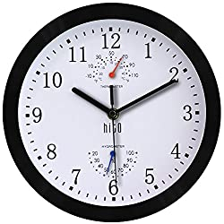 hito Silent Wall Clock Non ticking 10 inch Excellent Accurate Sweep Movement Metal Frame Glass Cover, Modern Decorative for Kitchen, Living Room, Bathroom, Bedroom, Office, Classroom (Black frame)