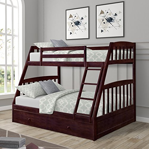 Harper&Bright Designs Solid Wood Twin Over Full Bunk Bed with Two Storage Drawers (Espresso)