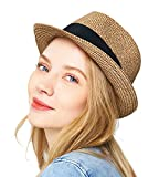 EUPHIE YING Women Beach Sun Hats Short Brim,Coffee