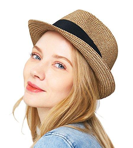 EUPHIE YING Women Men Panama Summer Straw Fedora Hat Roll up Beach Sun Hats Short (Ladies Fedora)