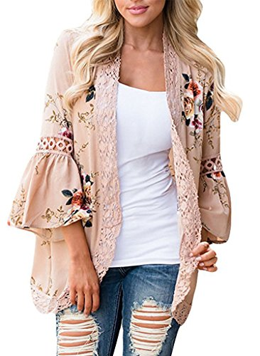 Classic Vintage Cardigan (VINCINEY Women's Vintage Floral Print Lace Trim Puffy Long Sleeve Open Front Cardigan Outwear XXL Khaki)