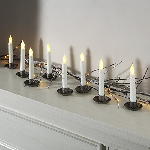 Flameless Taper LED Candles by LampLust | Ivory Drip Finished, 6