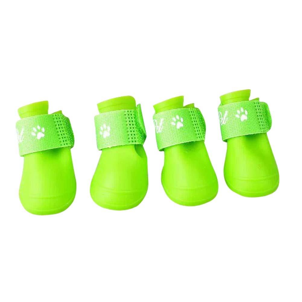 Green M B(M)US Green M B(M)US NOMIMAS Dog shoes Waterproof Anti Slip Outdoor Cute Rain Boots Magic Stick Fashion Design Vacation shoes