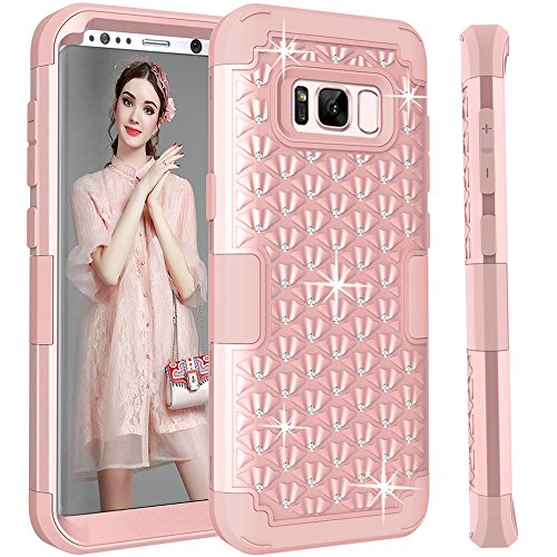 Price comparison product image Galaxy S8 Plus Case,  GreenElec [Diamond Studded Bling Rhinestone] Hybrid Heavy Duty Dual Layer Armor Defender Protective Rubber Case With Fit Perfect Shock Absorbing Scratch Proof,  Rose Gold