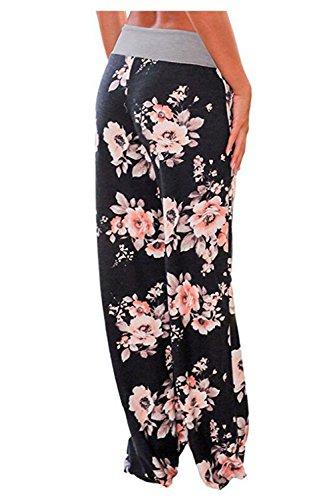 2d7bb12f8b Aifer Women s Comfy Casual Pajama Pants Floral Print Lounge Drawstring  Palazzo Long Wide Leg Pants