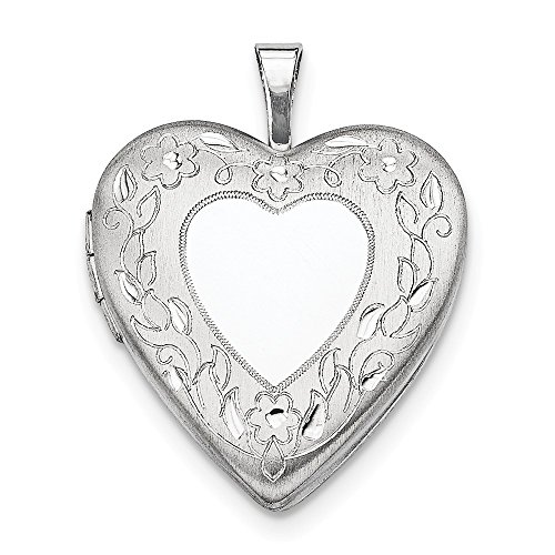 Sterling Silver Satin Back Holds 2 photos Polished and satin 20mm Floral Border Heart Locket