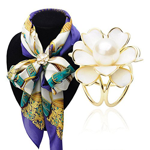 White Metallic Rhinestone Buckle (ZOONAI Women's Charm Flower Metallic Scarves Buckle Pearl Silk Scarf Clips Brooch (White))