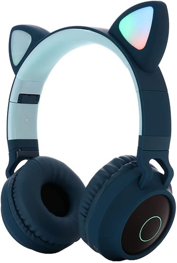 RONSHIN Cute Cat Ear Bluetooth 5.0 Headphones Foldable On-Ear Stereo Wireless Headset with Mic LED Light Support FM Radio/TF Card/Aux in for Smartphones PC Tablet Blue