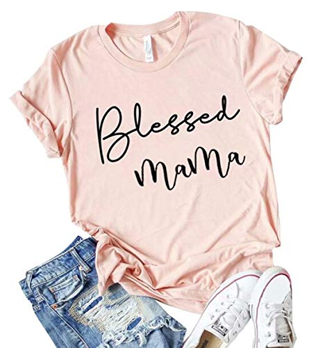 Blessed Mama Letter Printed Short Sleeve T Shirts Tops for Women Size L ()