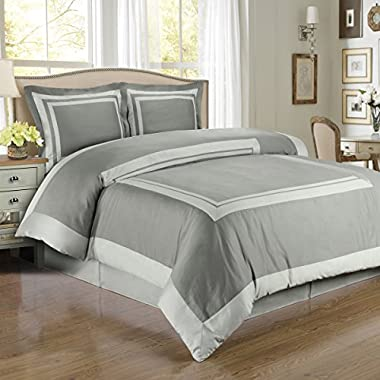 Deluxe Reversible Hotel Comforter Set, 100% Egyptian Cotton 300 Thread Count Bedding, woven with superior single-ply yarn. 3 piece King / California King Size Comforter Set, Gray / Light Gray
