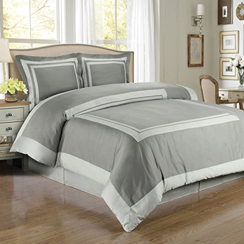 Deluxe Deluxe Reversible Hotel Duvet Cover Set, 100% Cotton 300 Thread Count Bedding, woven with superior single-ply yarn. 3 piece Full / Queen Size Duvet Cover Set, Gray / Light Gray