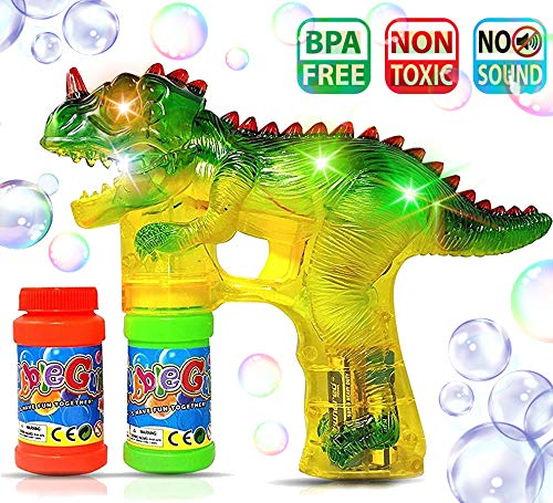 Haktoys Jurassic Dinosaur Bubble Gun Shooter Light Up Blower   Toy Bubble Blaster for Toddlers, Kids, Parties   LED Flashing Lights, Extra Refill Bottle, Sound-Free (Complementary Batteries Included)