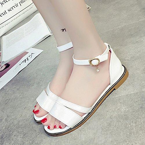 sandalias UE RUGAI simples estudiante White verano de plana zapatos playa de Correa Toe gIffWrd