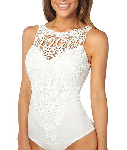 KRISP Body Mujer Fiesta Vestir Transparente Elegante Encaje Croché Tallas Grandes Blanco
